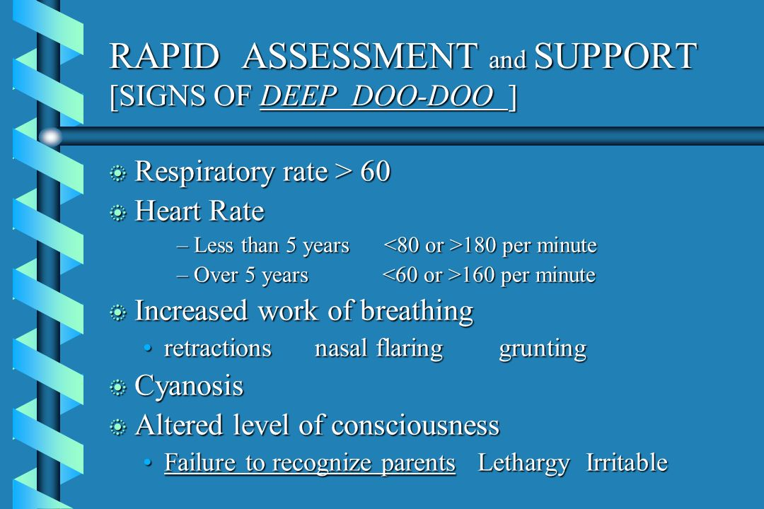 RAPID ASSESSMENT and SUPPORT [SIGNS OF DEEP DOO-DOO ]
